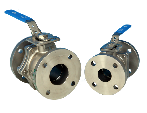 2-Pce Full Bore Flanged BS10 Table E Stainless Steel Direct Mount Ball Valve