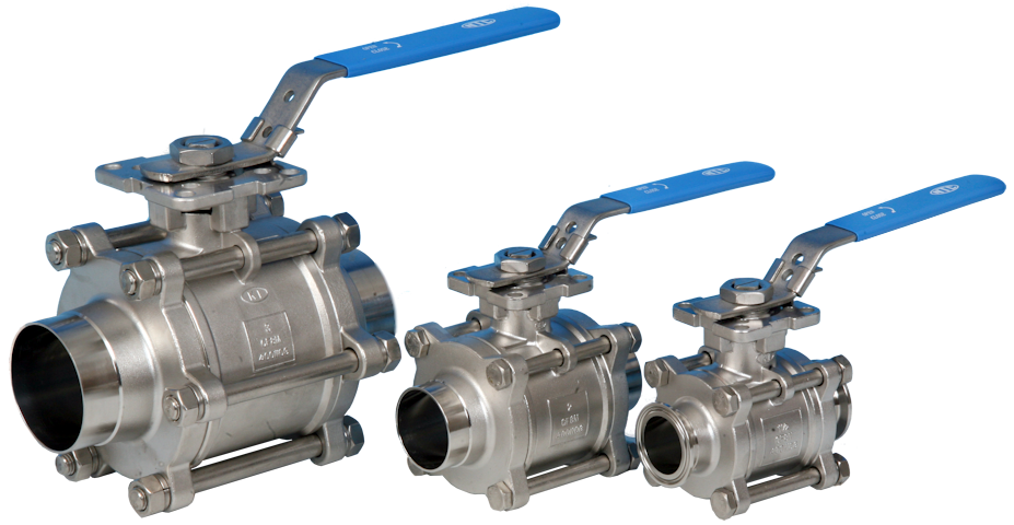 3-Pce Full Bore Sanitary Cavity Filled Direct Mount Ball Valve with Clamp Ends