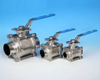 Stainless Steel 3-Pce Full Bore Sanitary Cavity Filled Direct Mount Ball Valve NTC KV-L9C/B